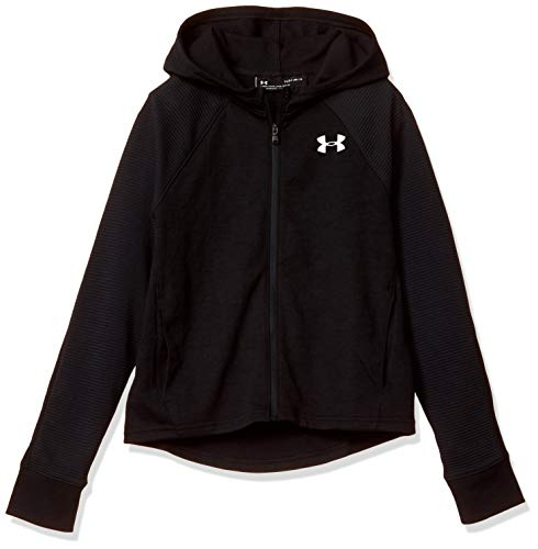 Under Armour Girls Finale Full Zip, Black (001)/White, Youth Medium
