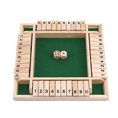 Juego De Tablero De Madera Shut The Box, Juego De Dados De 4 Vías, Juego Inteligente De Tablero De Madera (2-4 Jugadores) para Niños Y Adultos, Estrategia De Números De Aprendizaje Green