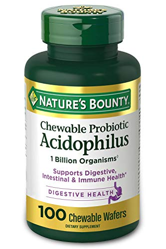 Probiotics by Nature's Bounty, Chewable Acidophilus Probiotic, Immune Health & Digestive Balance, 100 Chewable Wafers, pack of 1