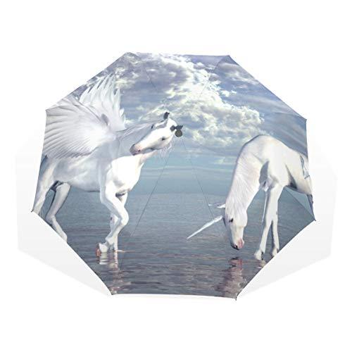 ISAOA Paraguas de Viaje automático, Paraguas Plegable Unicornio y Pegasus Resistente al Viento Ultra Ligero Protección UV Paraguas Mango Compacto para fácil Transporte para Mujeres y Hombres