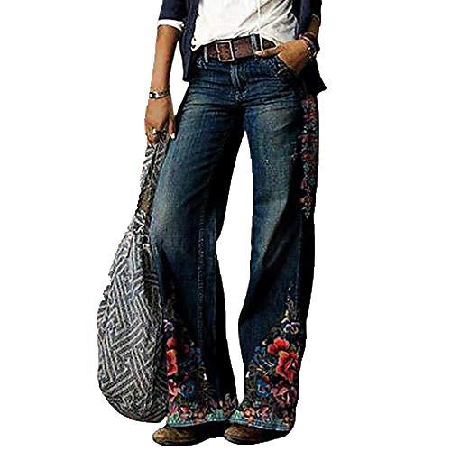 Pantalones Vaqueros Sueltos Casuales De Talla Grande para Mujer OtoñO E Invierno Pantalones De Mezclilla con Estampado De Flores Elegantes Pantalones De Mezclilla De Pierna Ancha para Mujer Retro 3XL