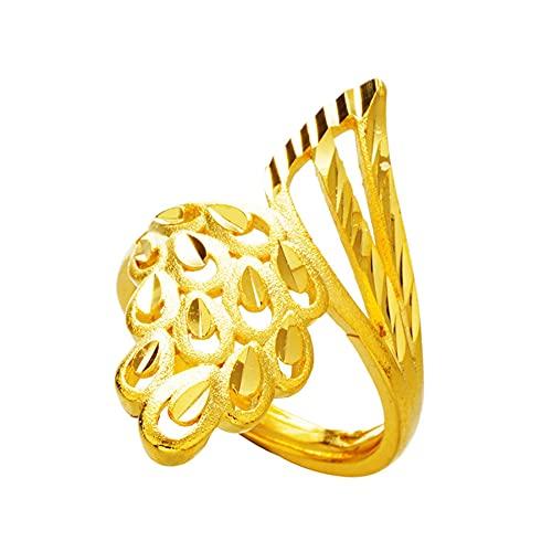 Oro brillante arena phoenix anillo abierto femenino Nuevo anillo de oro de 24 k chapado en cobre puro para mujeres anillos de boda Anillos de apertura de dedo de fiesta