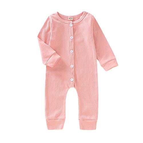 luoluoluo Baby Mädchen Jungen Kleidung Einteilige Robe mit Langen Outfits Ärmeln und Einfarbigen Knöpfen Kleidung Strampler Tops Sweaterroben mit Kuhmuster