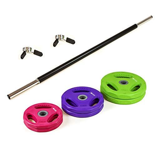 Xylo Sapphire 20kg Lang Hantel Set Gewichte Hantelscheiben Krafttraining 2 in1 Hantelset Gummi Langhantelstange inkl. 6 Hantelscheiben Home Gym