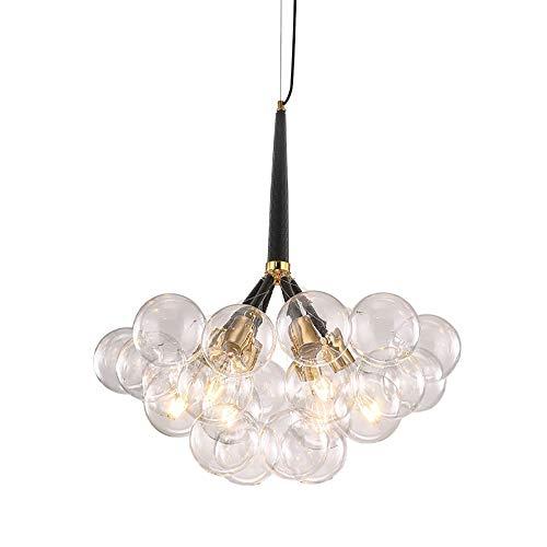 EDISLIVE 6 flammig Rund Glas Pendelleuchte Bubble Kronleuchter Deckenleuchte Minimalist 18 Globen Hängelampe Esszimmer Lampe (Pendelleuchte)