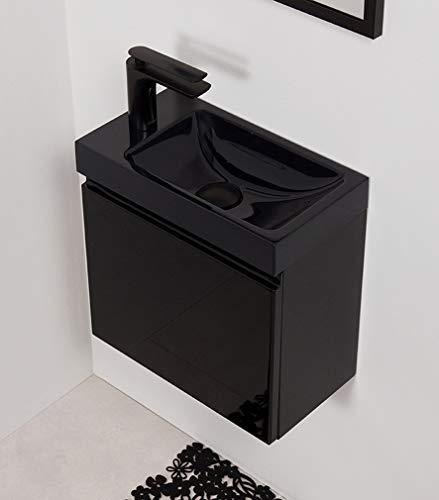 Quentis Badmöbel Gäste-WC Set Faros, Breite 40 cm, BLACK EDITION, Waschbeckenunterschrank montiert