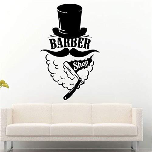 Wandaufkleber Kinderzimmer wandaufkleber 3d Barber Shop Logo Fenster Haarschnitt Hut Mann Schnurrbart Rasiermesser Muster Dekor