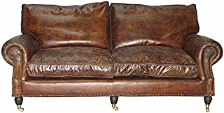 Casa Padrino Chesterfield Leather Sofa 2.5 Seater Luxury Vintage Leather Galata Blue