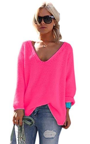 Mikos*Damen Frauen Strickpullover Pullover Pulli Strick Oberteile Oversized Sommer Herbst Frühling One Size (617 Neon Rosa)