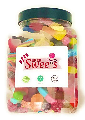 Super Sweets Vegan Sweet, Sour and Fizzy Jelly Sweet Mix Gift Jar 1.6Kg