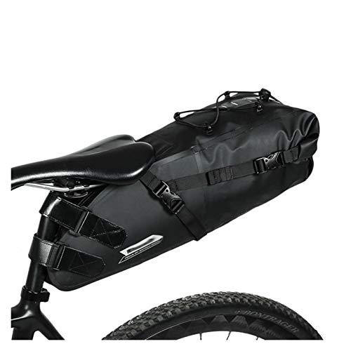 Lwzzdz Bicicleta Bicicleta Impermeable Bolsa de sillín de Gran Capacidad Reflectante Plegable Cola Volver Bolsa de la Bici de montaña Maletero Negro Bolsa de Montar de Bicicleta