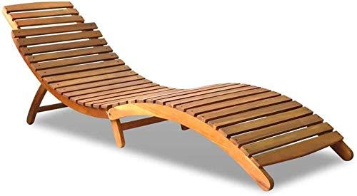 Bain de soleil, en bois d'acacia massif, chaise longue de jardin pliante chaise longue, pour terrasse ou jardin 190 x 60 x 51 marron