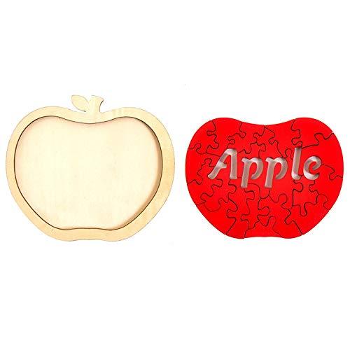yitao Niños rompecabezas Niños Juguete de madera Irregular Rojo Apple 3D Jigsaw Puzzle de madera Kindergarten bebé Juguetes educativos para niños