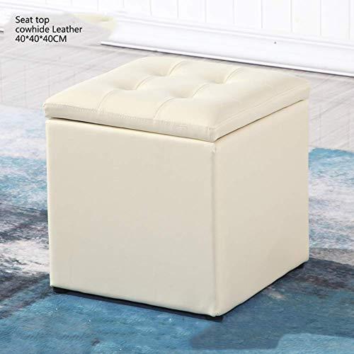 WEHOLY - Taburete para sofá, almacenaje Cuadrado de Madera, con Piel sintética con reposapiés con Tapa abatible Taburete de Almacenamiento con Caja-d 40x40x40cm (16x16x16)