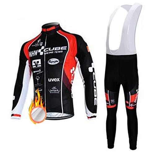 ZDFLC Completo Abbigliamento Ciclismo da Uomo, Uomo Invernale Maglia/Giacca Ciclismo Maniche Lunghe + Pantaloni da Ciclismo Lunghi con Cuscini Imbottiti 3D