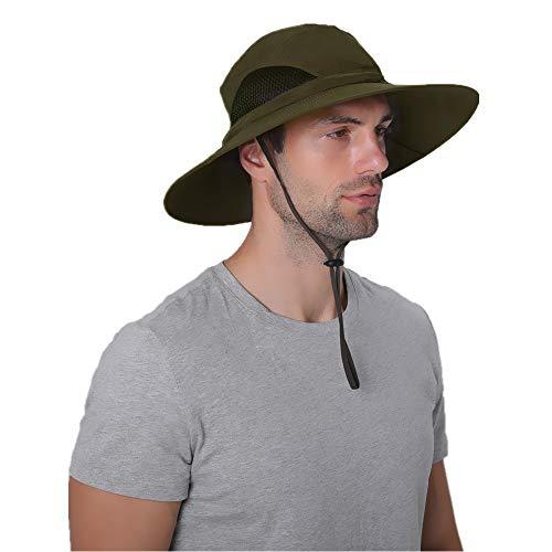 Sonnenhüte für Männer und Frauen, wasserdichter Fischerhut mit UPF 50 UV-Schutz, Unisex-Erwachsene Herren, armee-grün, Large