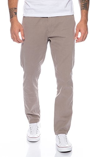 Rock Creek Herren Designer Chino Hose Regular Slim Chinohose RC-390 Hellgrau W38 L32