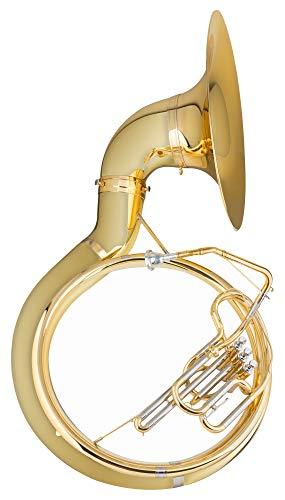 Classic Cantabile Brass S-100 Sousaphon - aus Messing - Bb-Stimmung - Drehbarer und abnehmbarer Schallbecher - Inkl. Transport-Case auf Rollen