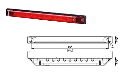 Troisième feu de stop rouge LED - 12-24 V - Pour voiture, caravane, camion, SUV, pick-up - Marqué CE - 1 Pièce