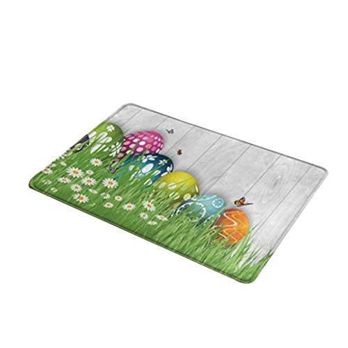 N/A/ Feliz pascua huevo de conejo decorativo felpudo rectangular alfombra antideslizante alfombra para baño, cocina, dormitorio, hogar, fiesta, decoración