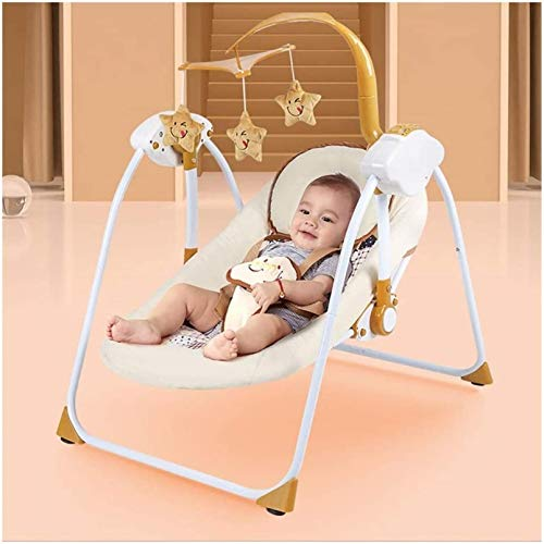 dfff Portable Recliner, Multifunctional Electric Cradle Bed Foldable can Move Baby Bed, Suitable for Boys and Girls Aged 0-3 Years Everyday Use