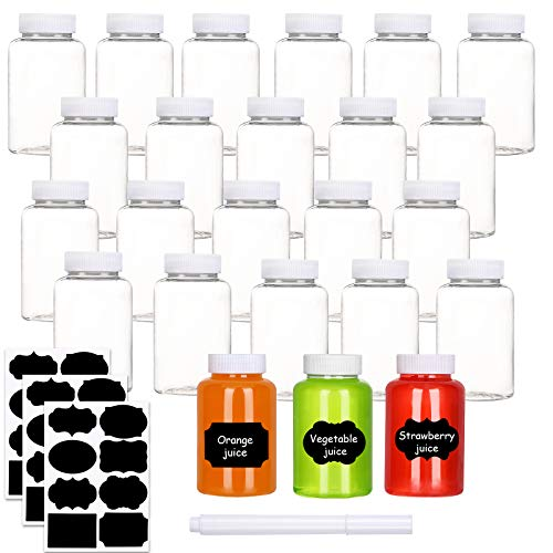 Clear PET Plastic Bottles 8 Oz250ml Refillable Reusable Empty Containers with Lids and Labels Small Storage Jars for Juice Drink Spice Sugar Candy Set of 24 8 Oz