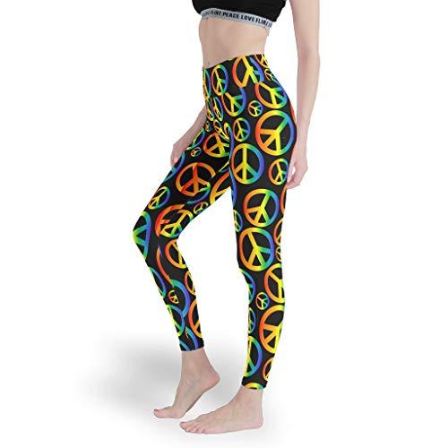 Peace - Leggings estampados a todo color para mujer, para estirar, pantalones de control de abdomen, pantalones deportivos ajustados para mujer