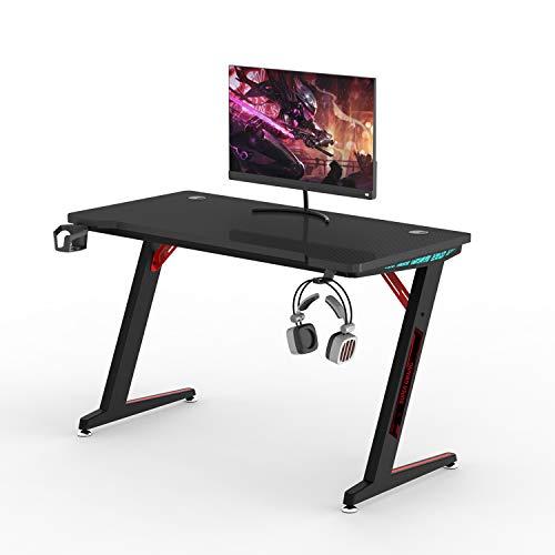 Huracan LED Schreibtisch Ergonomisch Gaming Tisch PC Computertisch mit Kabelmanagement Getränkehalter und Kopfhörerhalter, Vergrößen Oberfläche, Mehr Beinfreiheit, Perfeckt für Gamer