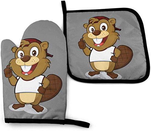 leyhjai Naughty Beaver Werewolf Hd Ofenhandschuhe und Topflappen Set Küche Hitzebeständiger Ofenhandschuh Handschuh zum Backen von Grill
