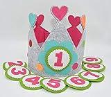 Der Wollprinz Corona de cumpleaños para niños, color rosa y gris con los números del 1 al 9.