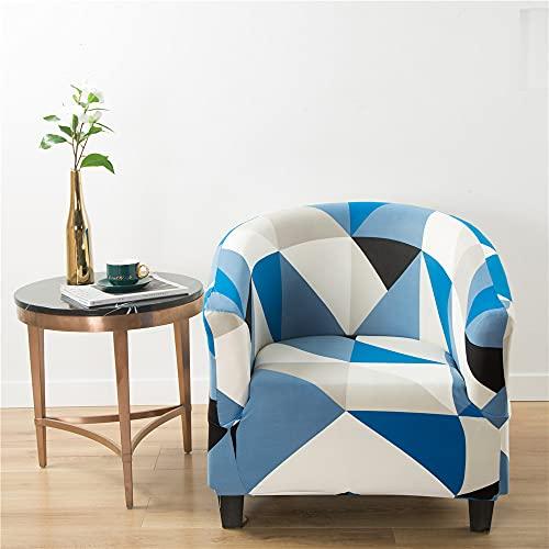 Highdi Funda de Sillón Chesterfield, Cubre Sofá de 1 Plaza Elásticas Lavable Universal Antideslizantes, Fundas Protector de Butaca para Dormitorio,Recepción,Contador - Estilo Geométrico (Azul)