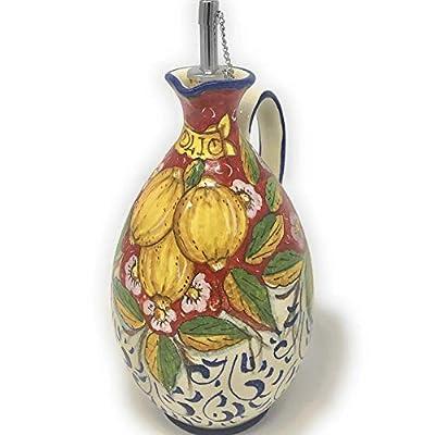 CERAMICHE D'ARTE PARRINI - Italian Ceramic Art Pottery Oil Cruet Dispenser Bottle Decorated Lemons Hand Painted Made in ITALY Tuscan from
