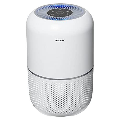 MEDION Luftreiniger mit HEPA-Filter (H13) (reduziert Verunreinigungen Aerosole Pollen Staub Tierhaare, bis zu 34 m², Timer- und Schlaffunktion, Luftqualitätsanzeige, Touch, 35 Watt, MD 19778)