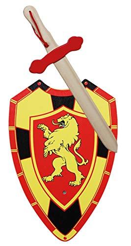 GERILEO Espada mas Escudo de Caballero de Madera artesanales con Blasón - Complemento para Juegos y Disfraces. Disponible en Distintos Colores. (Blasón Tonos Rojos)