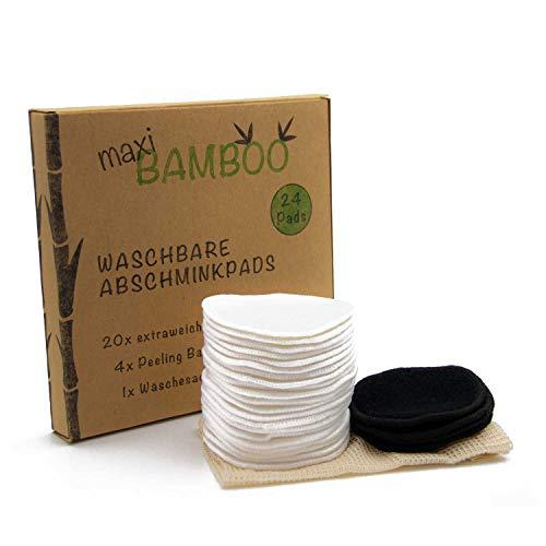 24 originale maxiBAMBOO Abschminkpads waschbare Wiederverwendbare Wattepads Bambus und Baumwolle Peelingpads Wäschesack Abschminktücher Umweltfreundlich Bamboo Zero Waste