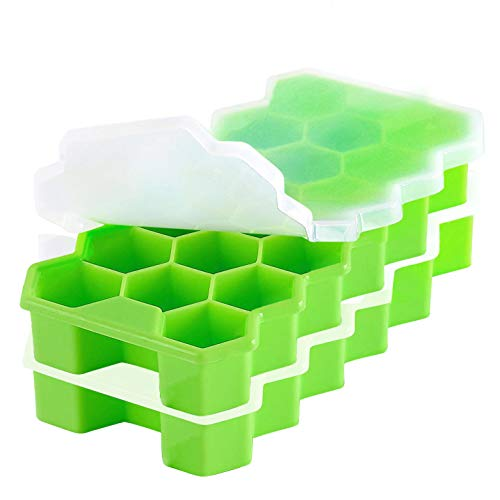 Ice Cube Trays, Silicone Ice Trays for Freezer with Lid BPA Free, Easy-Release & Flexible Honeycomb Shaped Ice Cube Trays Molds Create 34 Big Ice Cubes for Whiskey Cocktail Chilled Drinks,2 Pack Green