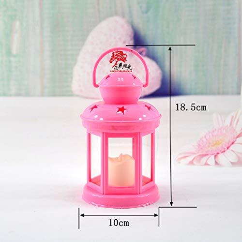 CFLFDC kandelaar ijzeren veldkaars tifon licht klassiek verjaardag huwelijk huis kaarslicht decoratief kaarslicht model elektronische kaars klein roze