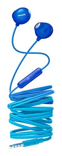 Auriculares Philips SHE2305BL 00 Auriculares con micrófono (micrófono Integrado, Controlador de 12,2 mm, Cuerpo translúcido, Cable de 1,2 m, diseño cómodo), Color Azul