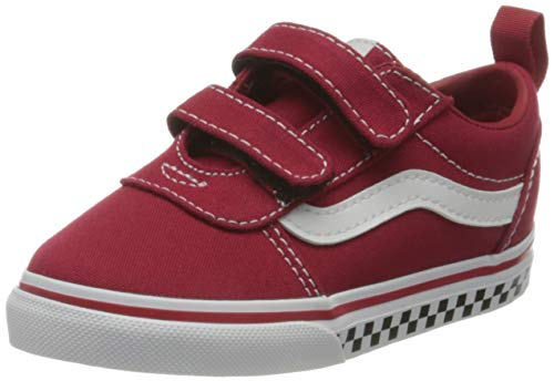 Vans Baby Jungen Ward V-Velcro Canvas Sneaker, (Checker Block) Chili Pepper/White, 25.5 EU