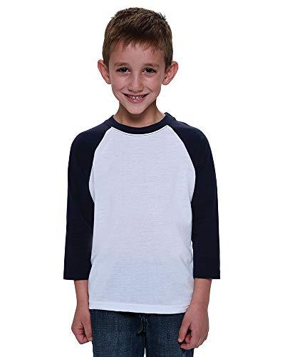 Monag Toddler Sublimation T Shirts Raglan Sleeves (6, White/Black)