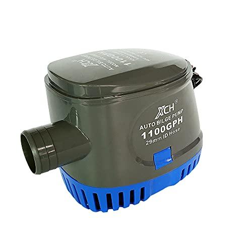 "XCH Bilge Pump Water Pump Boat Bilge Pump Automatic Submersible Boat Bilge Water Pump 12V 1100GPH Auto with Float Switch 1-1/8"" inch outlet (Grey)"