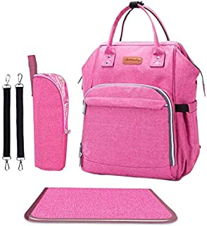 Diaper Bag - Baby Backpack Diaper Bag with Changing Pad and Cooler Pocket - by Pantheon - Baby Diaper Bag for Mom and Dad (Pink)