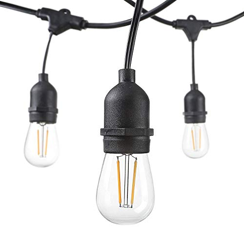 Outdoor String Lights LED 48 Feet Advanced Weatherproof Design Connectable String of Light,15 Heavy Duty Hanging Socket -E26 for Porch Patio Garden Backyard
