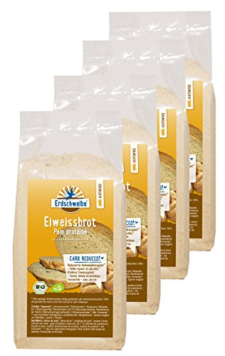 Erdschwalbe Bio Eiweiß Brot Backmischung - glutenfrei - 4er Pack (4 x 250g)
