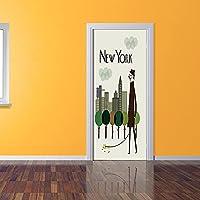 QHZSFF 3D ウォールステッカー ニューヨーク市 環境保護ステッカー紙、装飾壁紙、DIY装飾、剥離ステッカー、防水、リビングルームと寝室のドア用 95 x 215 cm