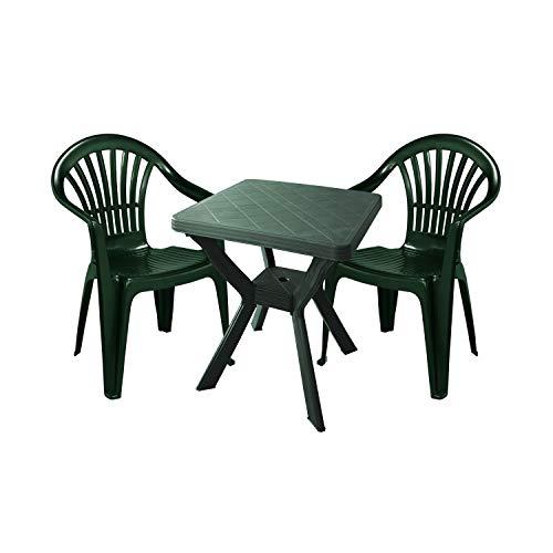 Mojawo tuingarnituur - 3-delig - tuintafel kunststof 70x70cm H72cm - + 2 stapelstoelen - kunststof groen - bistro set - eettafel - klapstoel