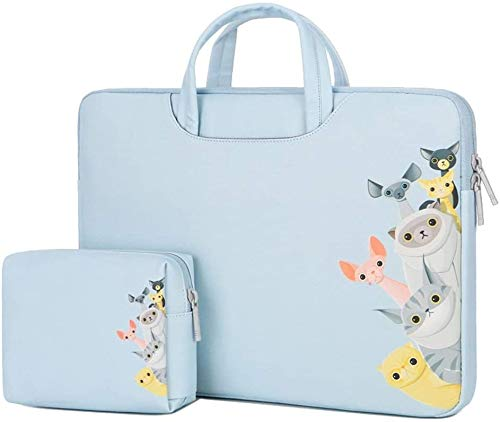 Laptoptas dames laptop tas (met kleine capaciteit bag) draagbare aktetas waterdicht PU-leer leuk patroon tablet case voor 12-15,6 inch laptop tablet PC laptop tas (kleur: grijs, maat