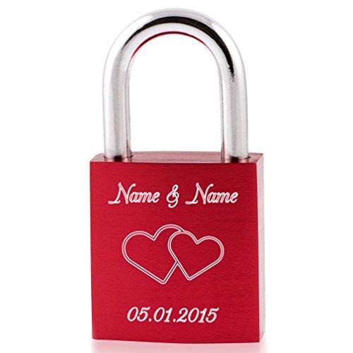 Liebesschloss24™ Liebesschloss Rot mit persönlicher Diamant-Gravur ♥ 1 Schlüssel ♥ Gratis Geschenkbeutel