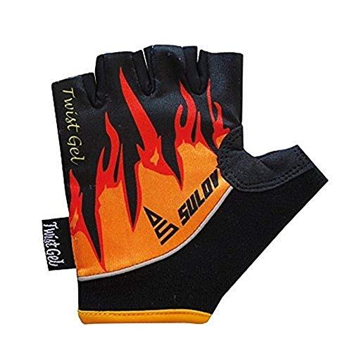 SULOV Kinder Twist Gel Fahrrad Handschuhe, Schwarz/Gelb, S