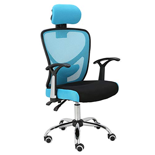 HOMEFUN Ergonomic Mesh Office Chair, Adjustable Computer Desk Chair with Headrest Comfortable Backrest Task Chair Swivel Rolling Chair, Blue